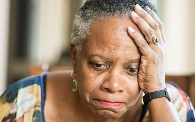 A worried old woman.