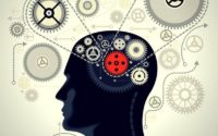 Silhouette of a man with gears showing him thinking