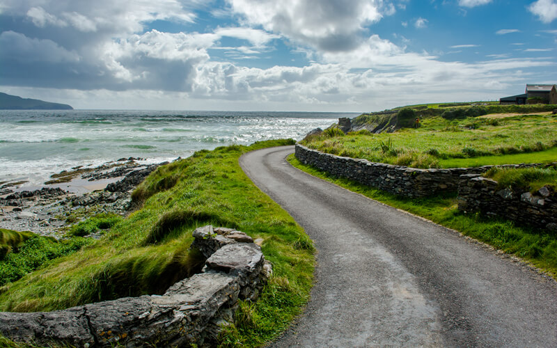 Beautiful view of the sea and road.