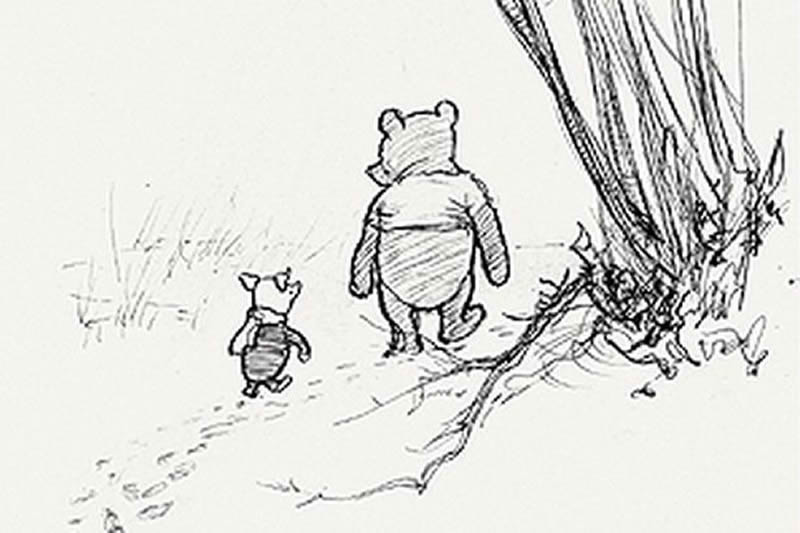 Winnie the Pooh and Piglet walking