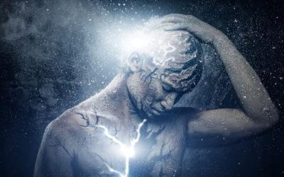 Illustration of man manly figure breaking apart.